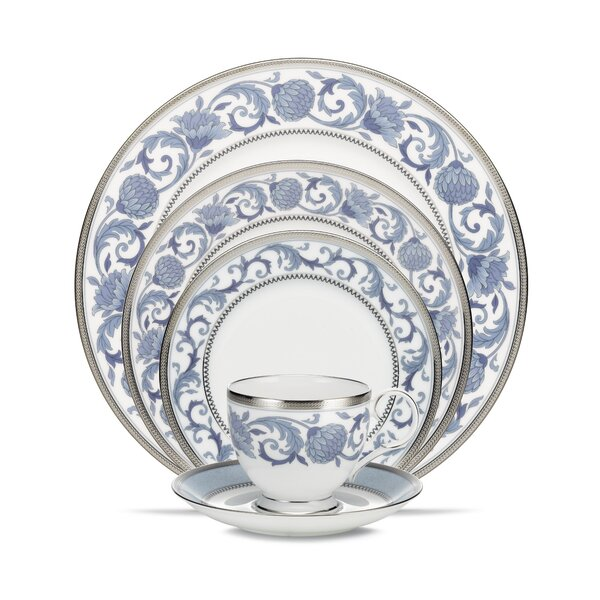 Sonnet Blue Bone China 5 Piece Place Setting, Service for 1 by Noritake