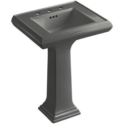 Pedestal Sink Ceramic Overflow Thunder Faucet Mount photo