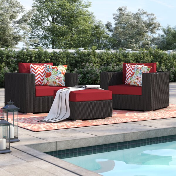 Brentwood 3 Piece Rattan Conversation Set with Cushions by Sol 72 Outdoor