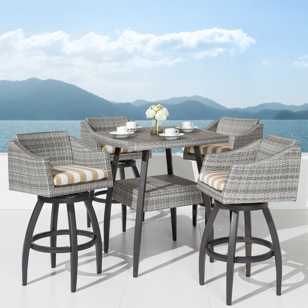 Castelli 5 Piece Sunbrella Bar Height Dining Set With Cushions By Wade Logan®