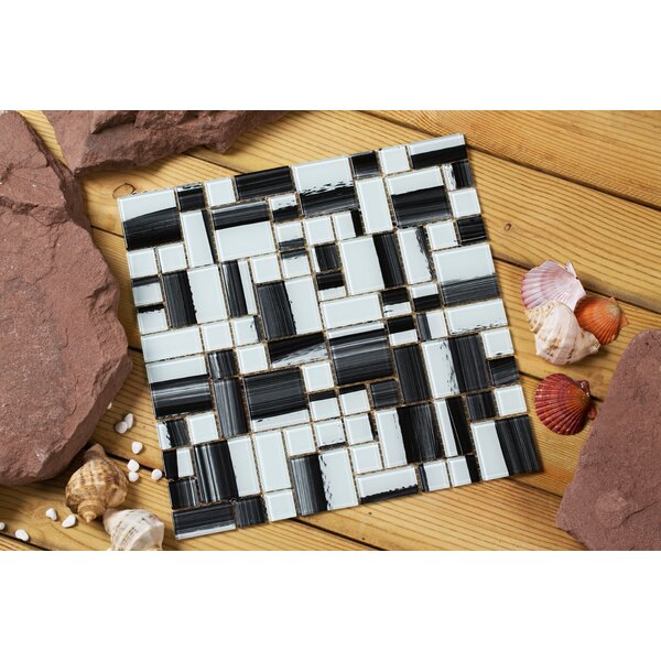 Stella 12 x 12 Glass Mosaic Tile in White/Black by Mirrella
