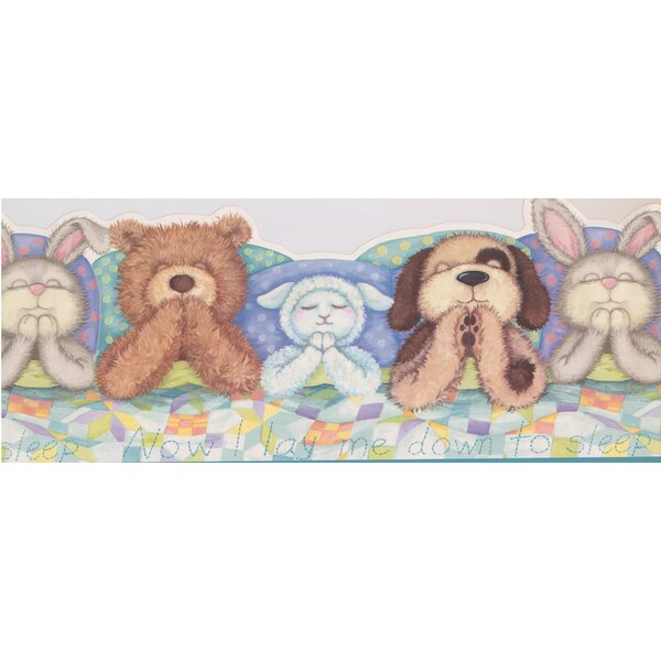 Plush Toys Teddy Bear are Asleep on the Bed Extra Wide Wall Border by York Wallcoverings