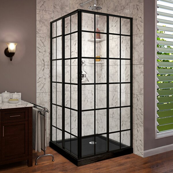 French Corner 36 x 74.75 Square Sliding Shower Enclosure with Base Included by DreamLine