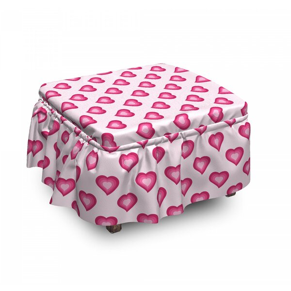 Pale Hearts Cartoon 2 Piece Box Cushion Ottoman Slipcover Set By East Urban Home