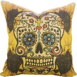 Day Of The Dead Sugar Skull Burlap Throw Pillow
