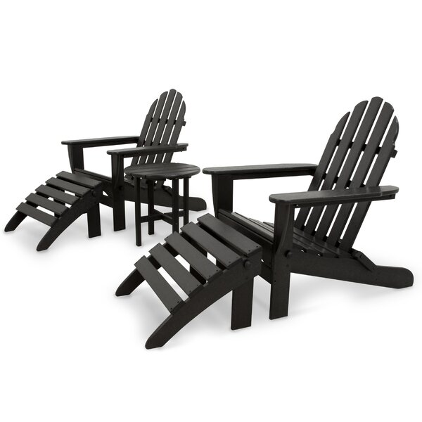Classics 5-Piece Folding Adirondack and Ottoman Set in Black by Ivy Terrace
