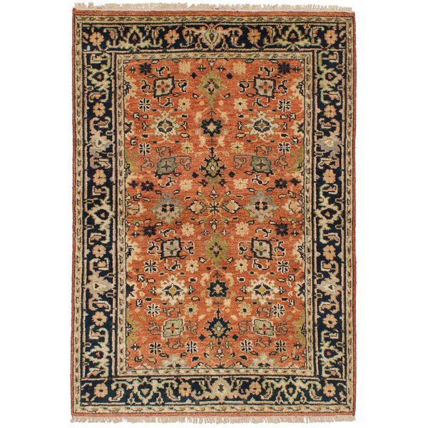 Lenita Hand-Knotted Wool Dark Copper Area Rug by Bloomsbury Market