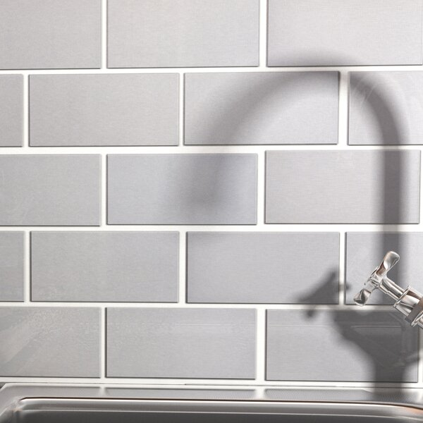 Vulcan 3 x 6 Stainless Steel and Porcelain Subway Tile in Silver by EliteTile