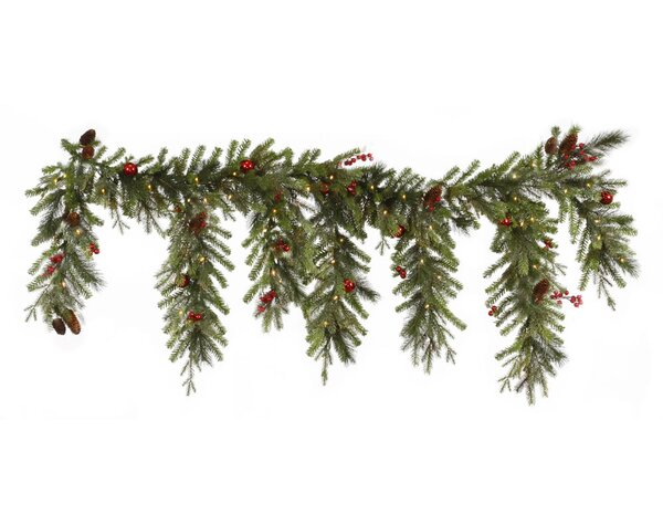 Berry & Ball Ornament Mixed Pine Artificial Christmas Garland with Lights by Vickerman