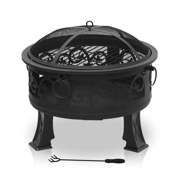 Outdoor Round Steel Wood Burning Fire Pit by Furinno