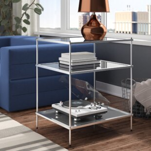 Busey 2 Shelves Glam Mirrored End Table by Latitude Run