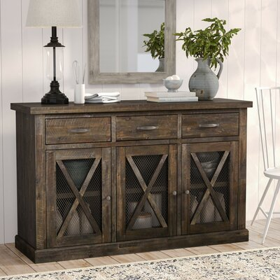"""Birch Lane Fahey 58"""" Wide 3 Drawer Acacia Wood Sideboard  Color: Salvaged Gray"""