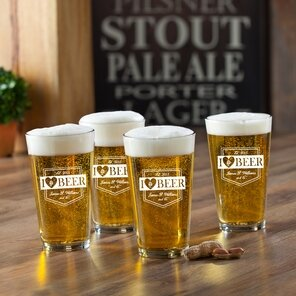 I Love Beer Printed Pub Beer Glasses (Set of 4) by JDS Personalized Gifts