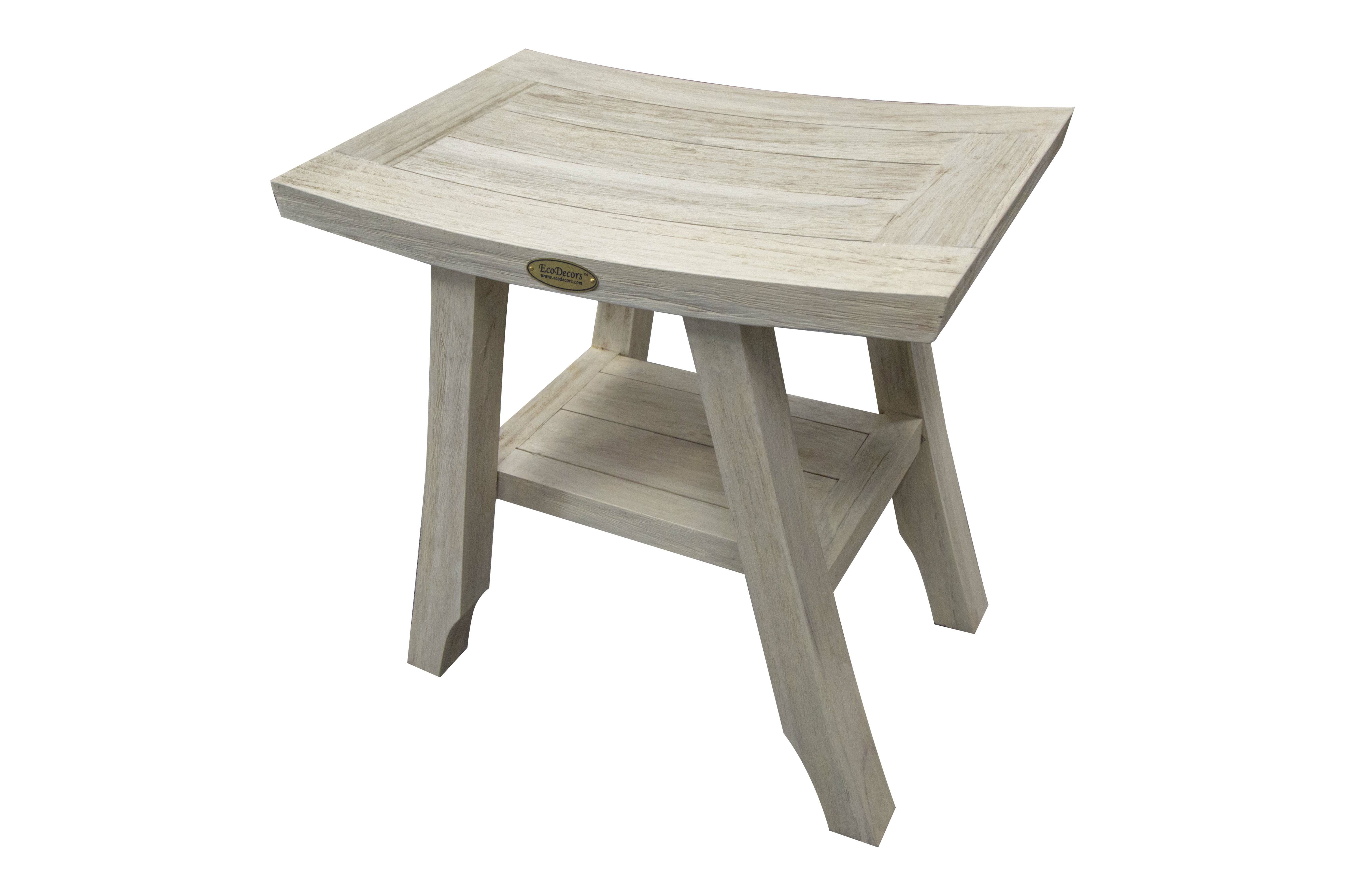 Superb Satori Coastal Vogue 18 Teak Shower Bench With Shelf Gmtry Best Dining Table And Chair Ideas Images Gmtryco