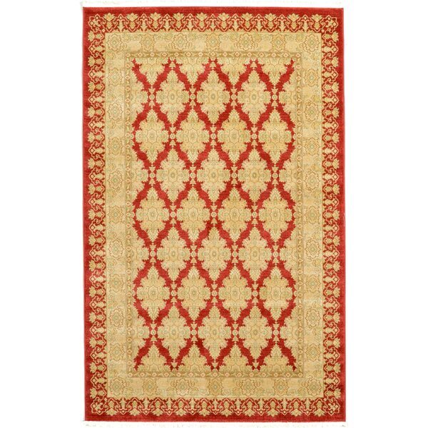 Fonciere Red/Beige Area Rug by World Menagerie