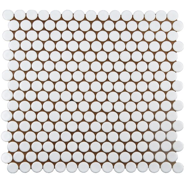 Penny 0.8 x 0.8 Porcelain Mosaic Tile in White by EliteTile