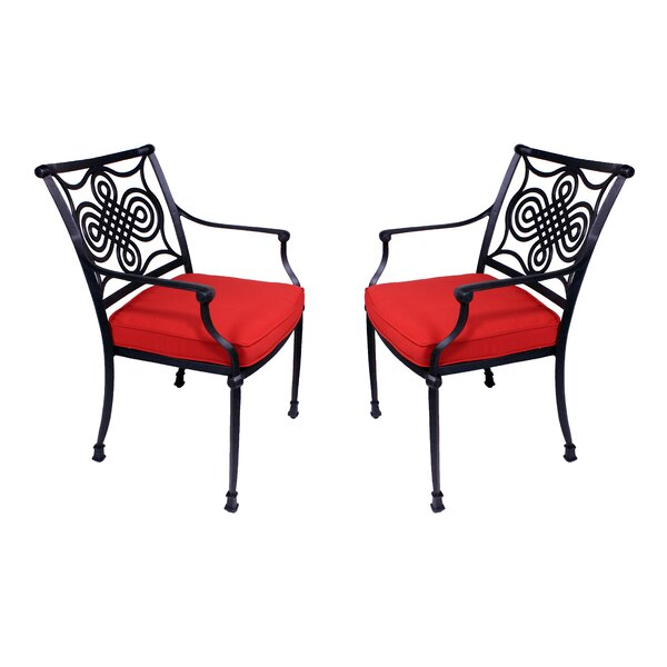 Juanita Stacking Patio Dining Chair with Cushion (Set of 2) by Alcott Hill