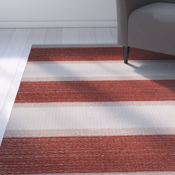 Addyson Stripe Print Orange Indoor/Outdoor Area Rug by Breakwater Bay