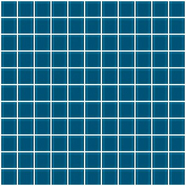 1 x 1 Glass Mosaic Tile in Deep Turquoise Blue by Susan Jablon