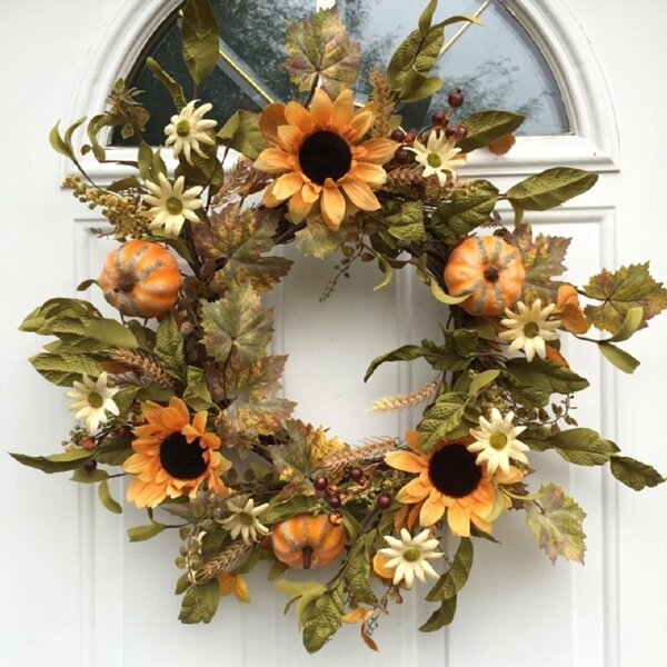 Sunflowers Pumpkins Berries Wheat and Fall Leaves Harvest Hollows Wreath by Gracie Oaks