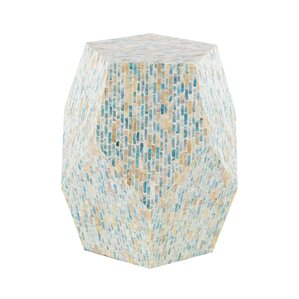 Lozko Natural Wood and Shell Pentagon Faceted End Table by Highland Dunes