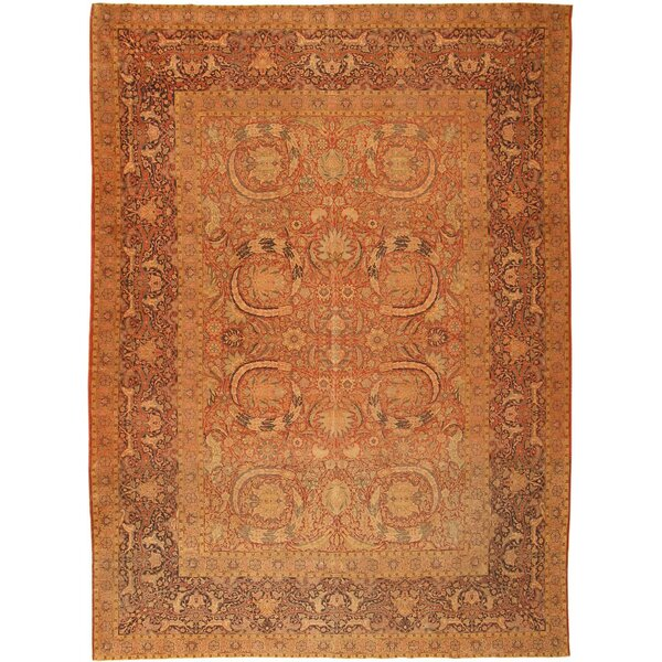 One-of-a-Kind Turkish Hand-Knotted Before 1900 Antique Red 9'9 x 13'1 Wool Area Rug