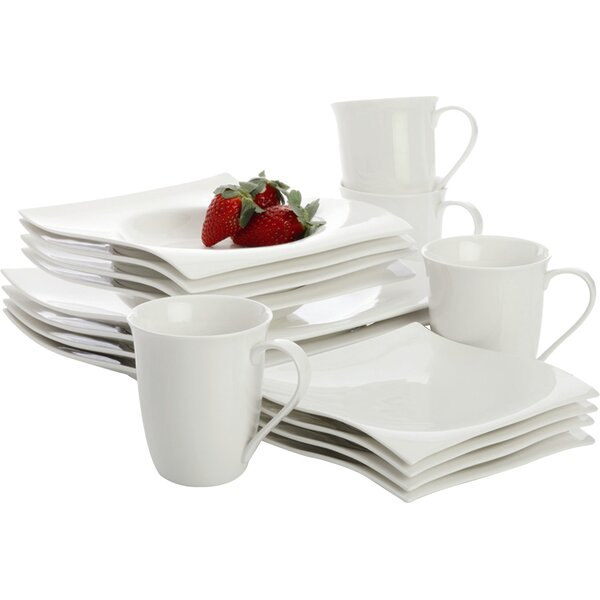 White Basics Motion 16 Piece Dinnerware Set, Service for 4 by Maxwell & Williams
