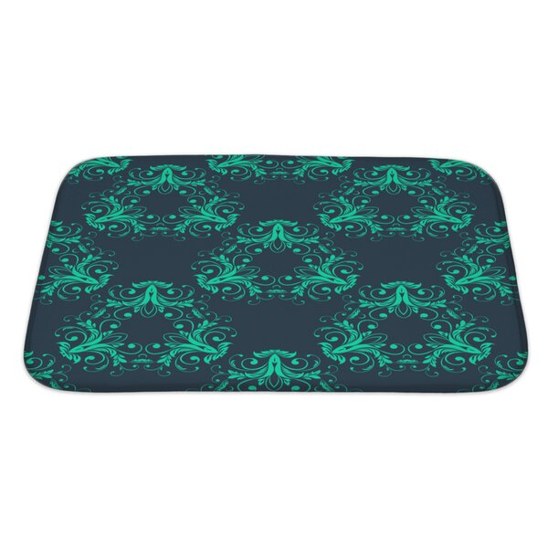 Simple Abstract Vintage Damask Pattern Rectangle Non-Slip Bath Rug