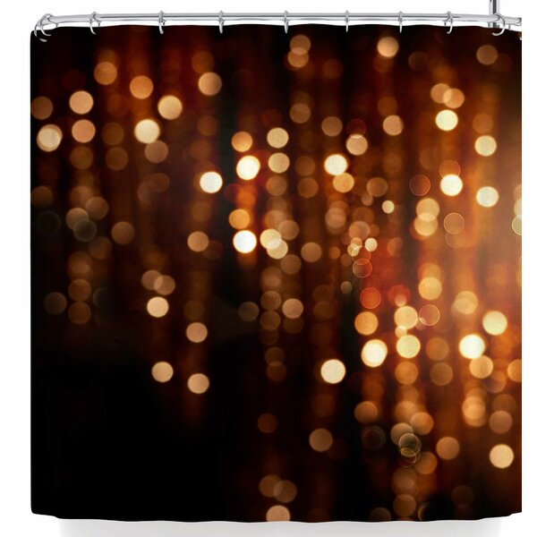 Susan Sanders Copper Gold Glitter Lights Shower Curtain by East Urban Home