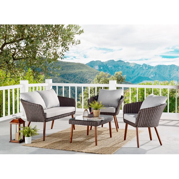 Panek 4 Piece Complete Patio Set with Cushions by Highland Dunes