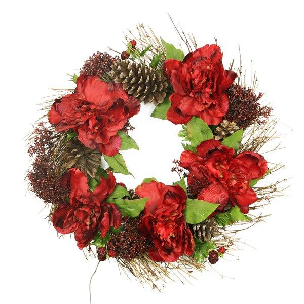 24 Artificial Peony and Sedum Floral Christmas Wreath by Tori Home
