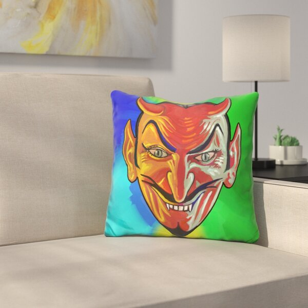 Devil Face Throw Pillow by East Urban Home