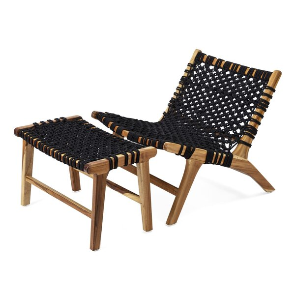 Mccroy Woven Teak Lounge Chair and Ottoman