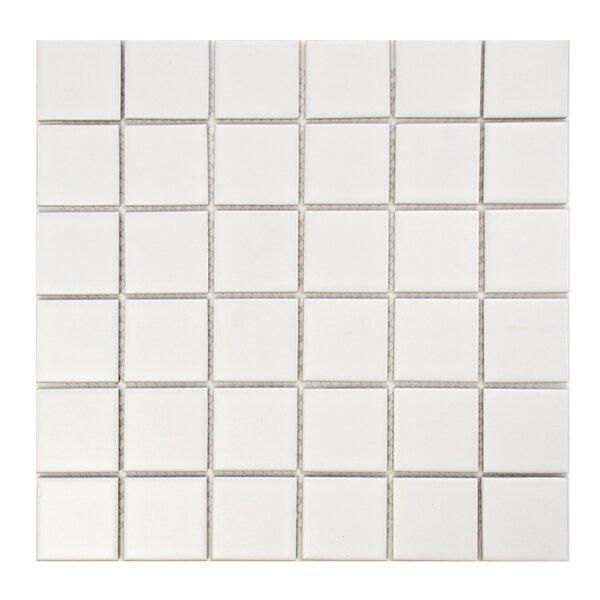 Retro Quad 2 x 2 Porcelain Mosaic Tile in Matte White by EliteTile