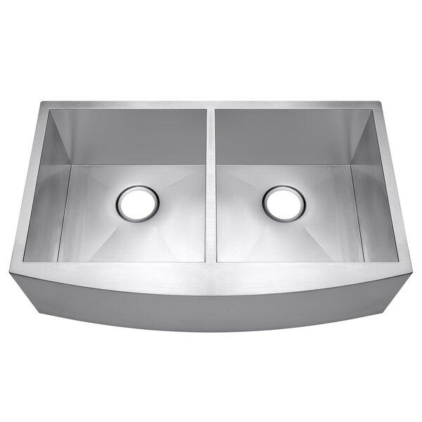 33 x 20 Apron Farmhouse Stainless Steel Double Bowl 50/50 Kitchen Sink by AKDY