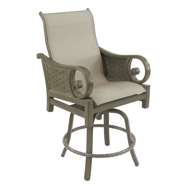 Riviera Sling Swivel Patio Bar Stool by Leona
