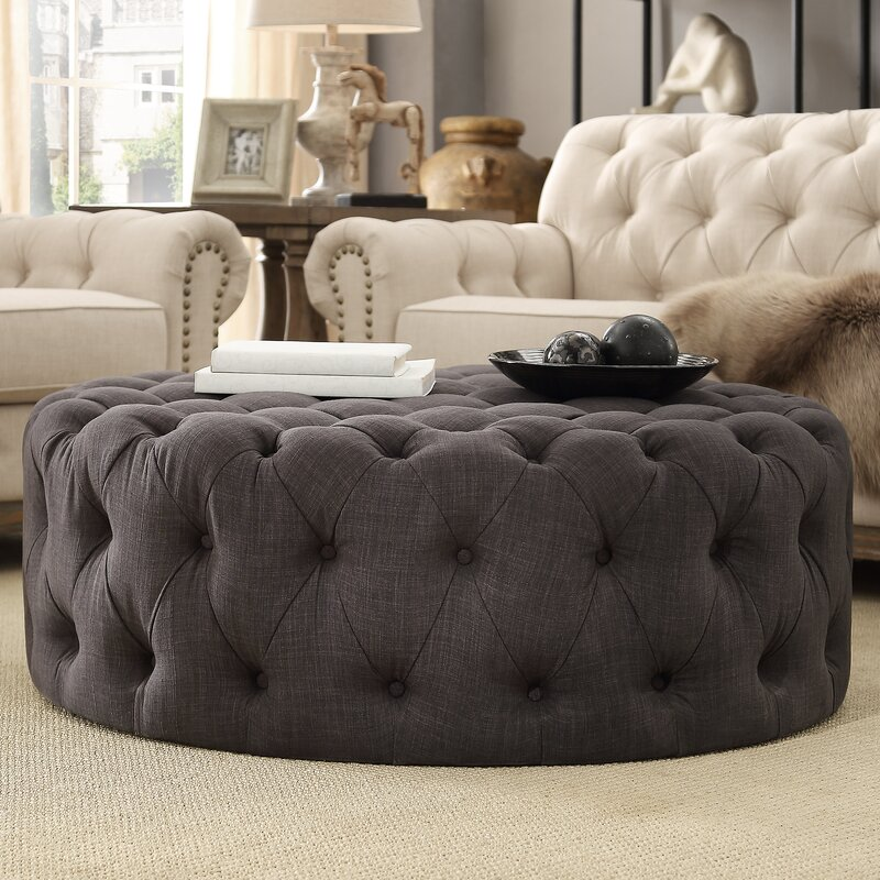 """Acklen 41.73"""" Tufted Round Cocktail Ottoman - you're going to love these furniture and decor pieces Kelly curated for Wayfair! #furniture #frenchcountry #kellyclarksonhome #ottomans #tufted"""