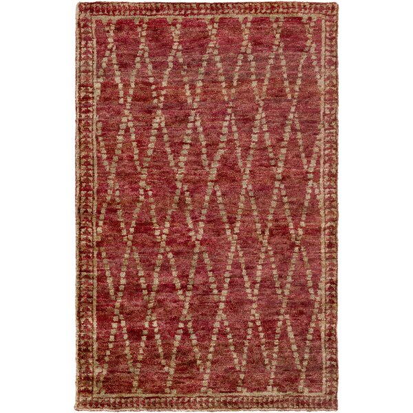 Elvera Hand-Knotted Red/Neutral Area Rug by Bungalow Rose