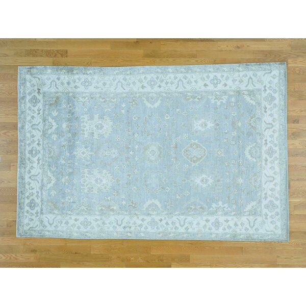 One-of-a-Kind Bearer Art Hand-Knotted Grey Silk Area Rug by Isabelline