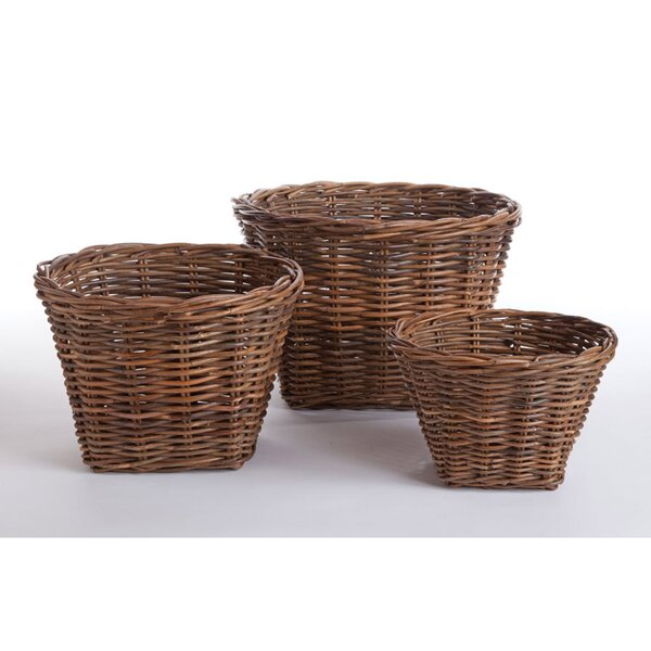 Morrissette 3-Piece Wicker/Rattan Pot Planter Set by One Allium Way