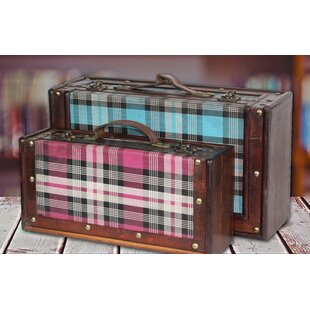 2 Piece Plaid Suitcase Set by Quickway Imports
