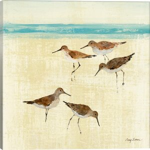 Sand Pipers Square II Painting Print on Wrapped Canvas by East Urban Home