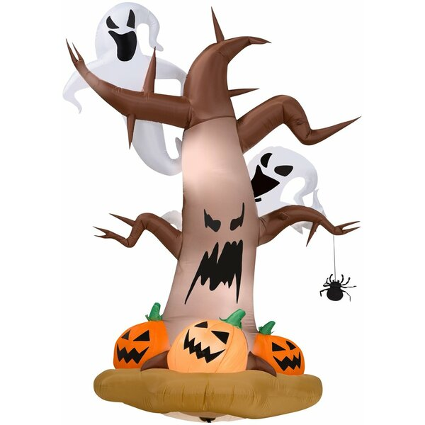 Dead Tree Inflatable with Ghosts on Top and Pumpkins LG by The Holiday Aisle