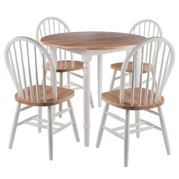 Maud Round 5 Piece Drop Leaf Solid Wood Dining Set by Rosalind Wheeler Rosalind Wheeler