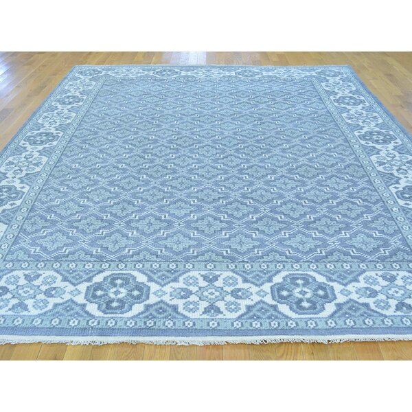 One-of-a-Kind Brianna Turkish Knot All Over Design Hand-Knotted Blue Wool Area Rug by Isabelline