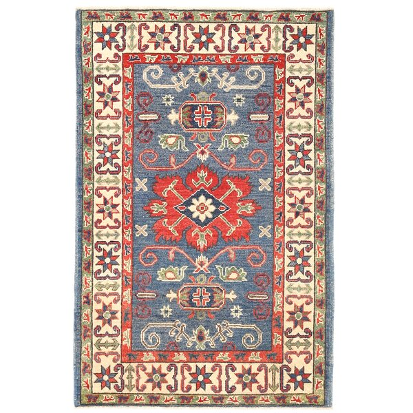 Kazak Hand-Knotted Blue/Ivory Area Rug by Herat Oriental
