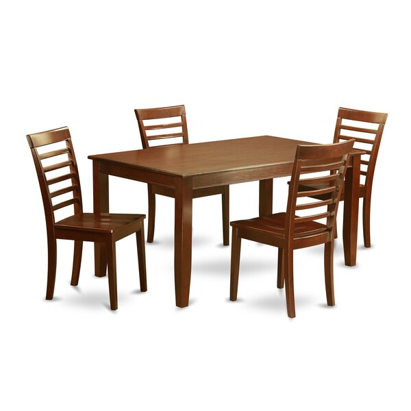 Sisneros 5 Piece Solid Wood Dining Set by Charlton Home Charlton Home