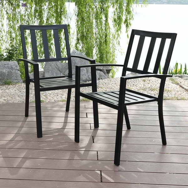 Alexan Stacking Patio Dining Chair (Set Of 2) By Winston Porter by Winston Porter Purchase