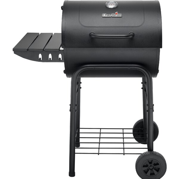 24 American Gourmet 625 Series Barrel Charcoal Grill with Side Shelf by Char-Broil