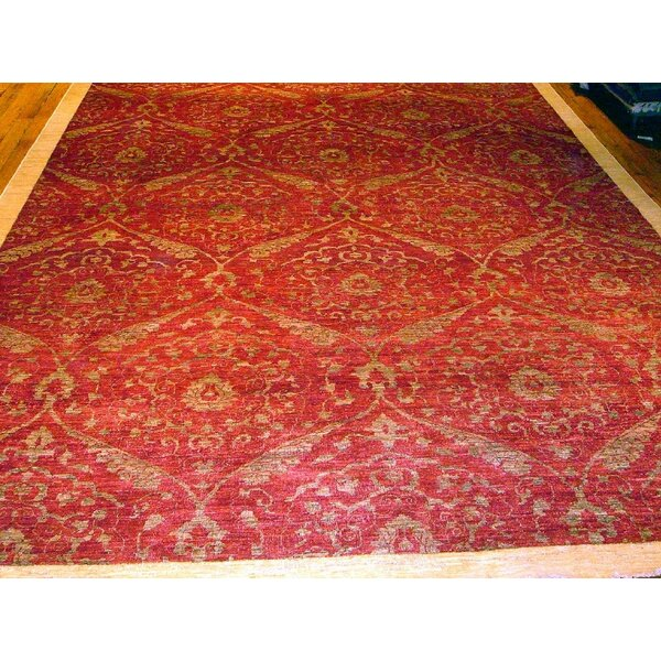 Modern Contemporary Transitional Hand-Knotted Silk and Wool Red Area Rug by Pasargad